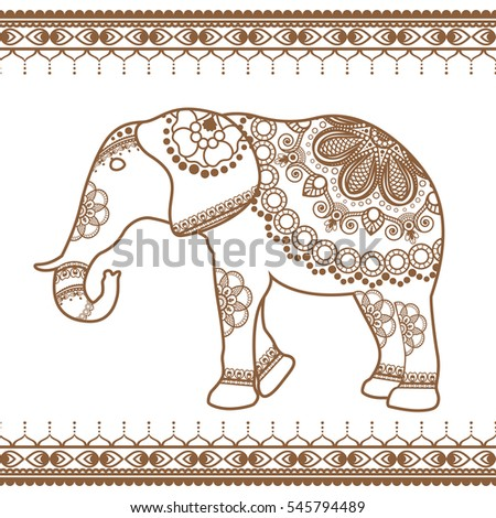 Elephant With Border Brown Elements In Ethnic Mehndi Style Vector And White Illustration Isolated