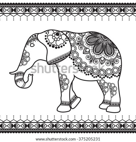 Elephant With Border Elements In Ethnic Mehndi Style Vector Black And White Illustration Isolated On