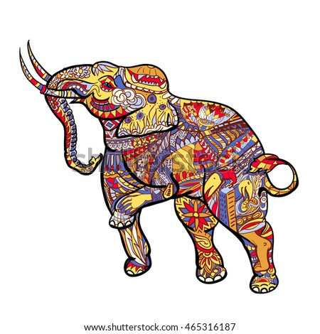 Elephant With Elegant Decorative Pattern Posting Of Thai Traditional ArtHand Drawing Style And