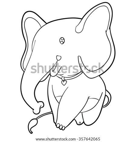elephant with necklace cartoon black and white ,line art vector