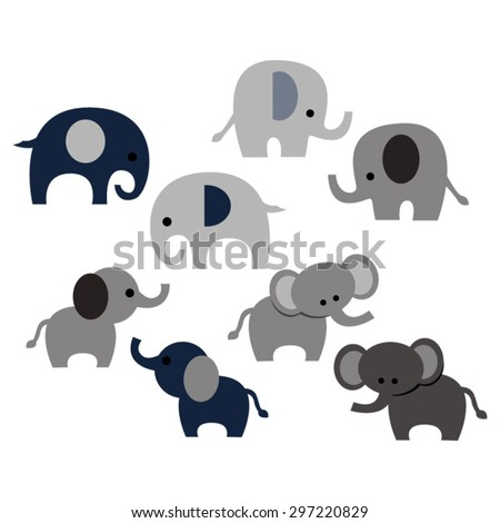 Elephants. Cute vector. - stock vector