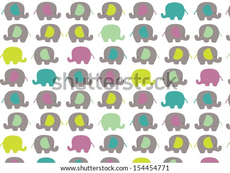 Elephants in color - stock vector