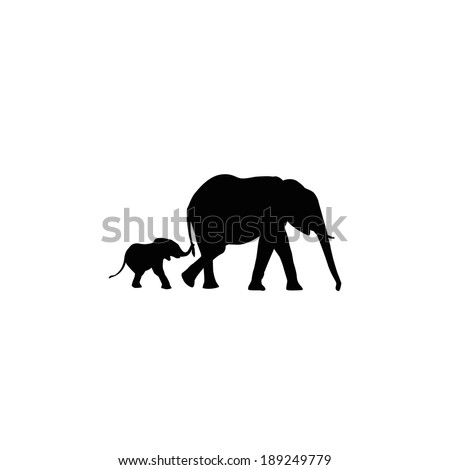 elephants mother and son silhouette - stock vector