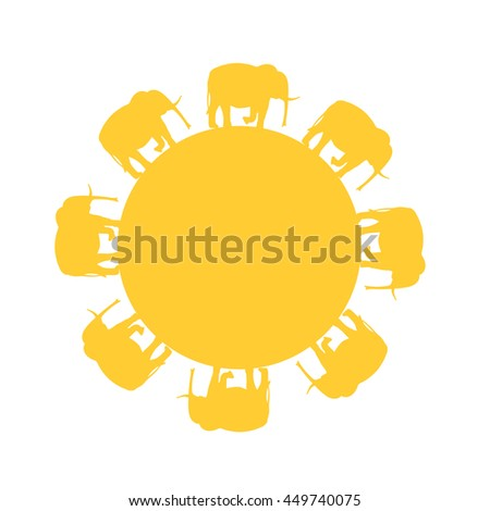 Elephants walking in circles as the sun. Of animal Pattern made in vector.