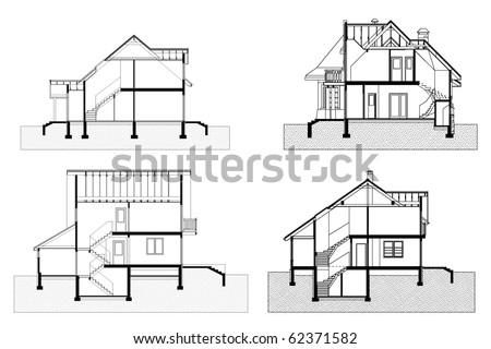 elevation of building. vector fasade draw - stock vector