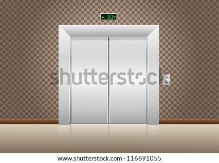 elevator doors closed vector illustration - stock vector