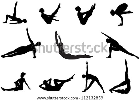Eleven pilates silhouettes of working out and stretching on the white background - stock vector