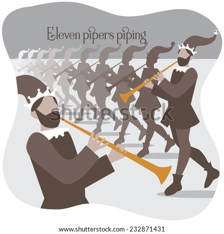Eleven pipers piping Twelve days of Christmas EPS 10 vector illustration - stock vector