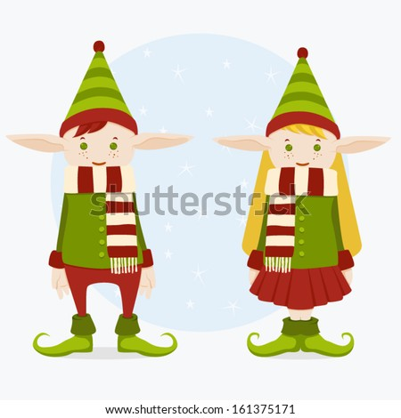 Elf Boy and Girl - stock vector