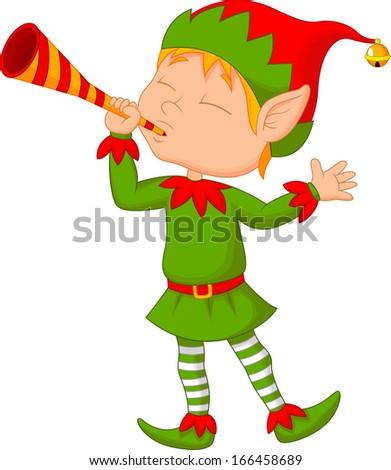 Elf cartoon blowing trumpet - stock vector