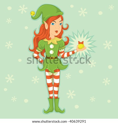 Elf girl illustration - stock vector
