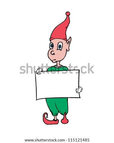Elf Holding Blank Message Board. - stock vector