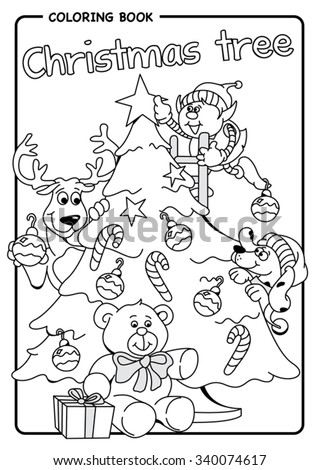 Elf Reindeer And Dog Decorate The Christmas Tree With Stars Bulbs Candy Bars