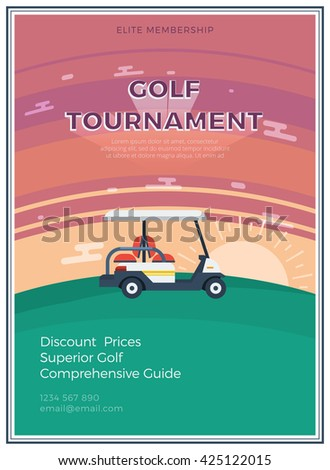 Elite membership golf tournament flat icon poster with email address and golf car at sunrise or sunset in the middle vector illustration - stock vector