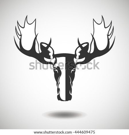 Elk black icon, silhouette and vector logo. Flat isolated element. Animal sign and symbol - stock vector