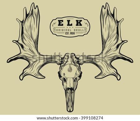 elk skull engraving style moose skull stock vector 399108274 shutterstock. Black Bedroom Furniture Sets. Home Design Ideas