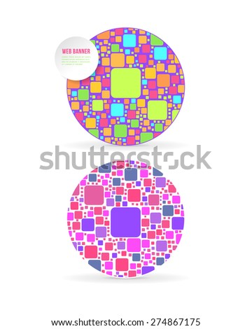 Ellipse Frame in Multicolor Rounded Elements Flat Website Banner Design Template  - stock vector