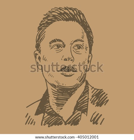 Elon Musk, June 09, 2015. Palo Alto, CA, USA. Sketch by hand. Vector illustration.