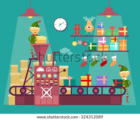 Elves make Christmas and New Year gifts, vetor illustration isolated on background, factory for the production of gifts - stock vector
