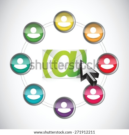 email correspondence people circle diagram illustration design over white background - stock vector