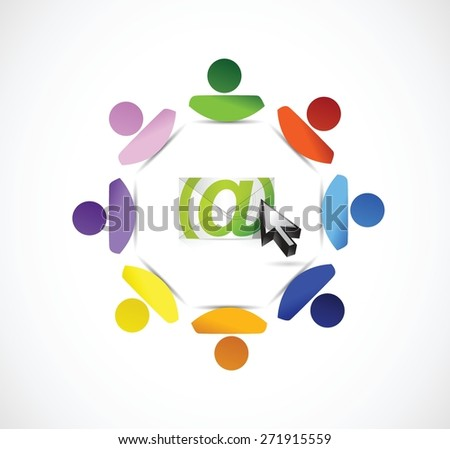 email correspondence people connection illustration design over white background - stock vector