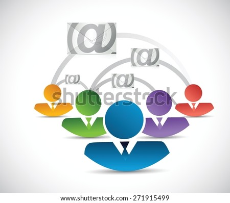 email correspondence people network illustration design over white background
