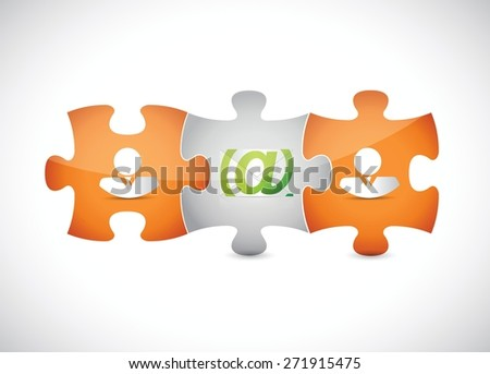 email correspondence puzzle pieces illustration design over white background - stock vector
