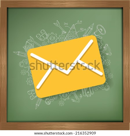 Email design on blackboard background,clean vector - stock vector