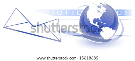 Email, Electronic Communications World Wide Web Internet Concept, with a globe and white land mass, envelope, and binary background.