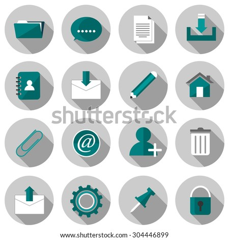 email flat icon set vector illustration design with long shadow isolated on white background. for web and mobile application - stock vector