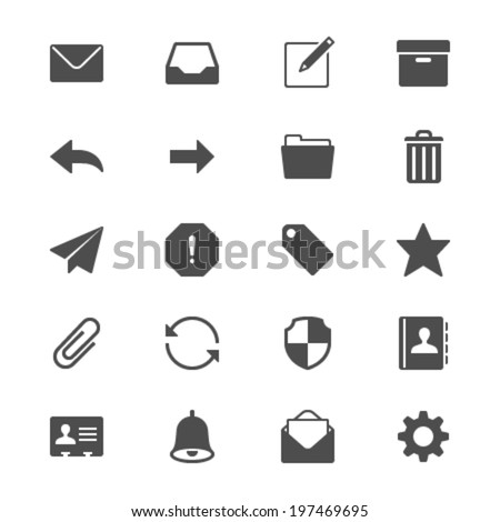 Email flat icons - stock vector