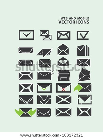 email icon Set vector - stock vector