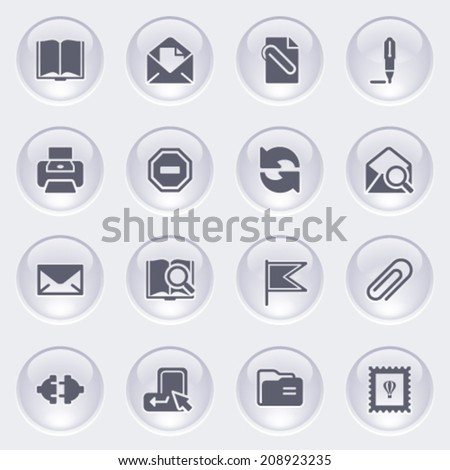 Email icons on glossy buttons. - stock vector