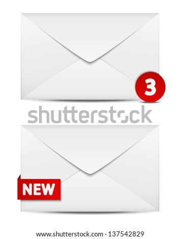 Email icons on white - stock vector