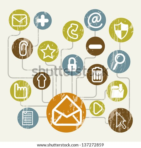 email icons over beige background. vector illustration - stock vector