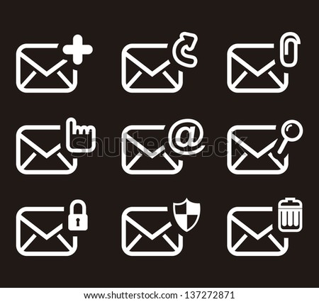 email icons over black background. vector illustration - stock vector