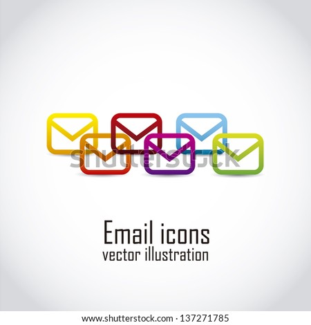 email icons over white background. vector illustration - stock vector