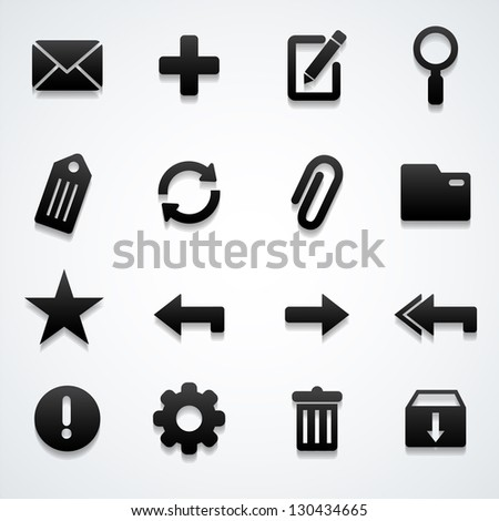 Email icons set - stock vector