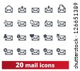 Email icons: vector set of envelope signs for web and applications - stock vector