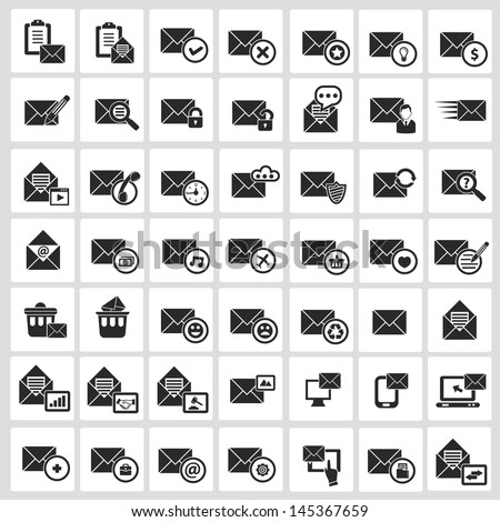 Email icons,White background version,vector - stock vector