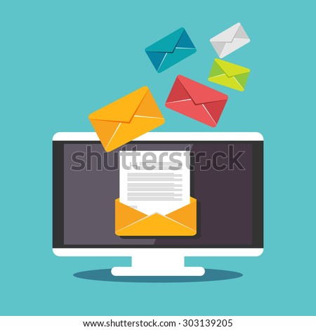Email illustration. Sending or receiving email concept illustration. flat design. Email marketing. - stock vector