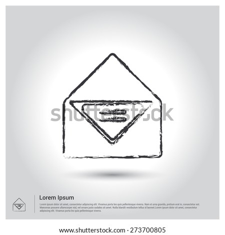 email letter Icon, Sketch Doodle pictogram icon on gray background. Vector illustration - stock vector