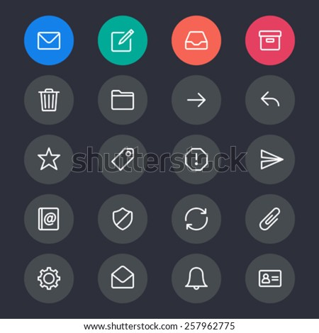 Email line icons - stock vector