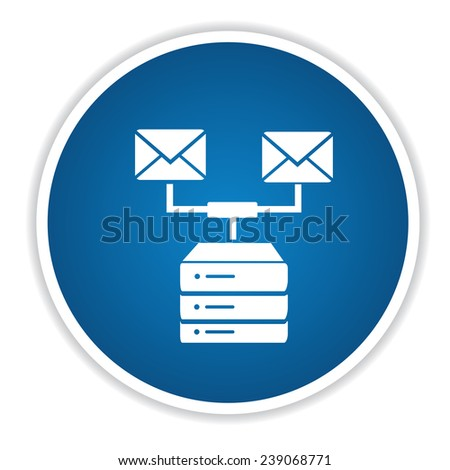 Email link database icon on blue button,clean vector - stock vector