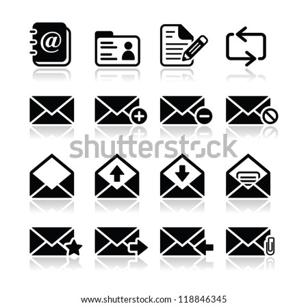 Email mailbox vector icons set - stock vector