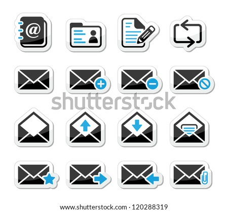 Email mailbox vector icons set as labels - stock vector