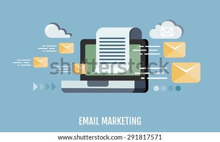Email marketing concept. Flat design. Vector Illustration. - stock vector