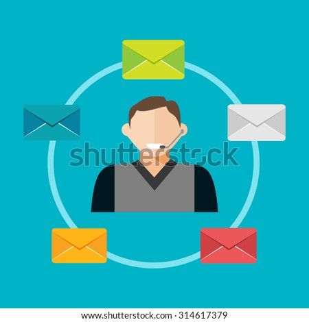 Email marketing concept illustration. - stock vector