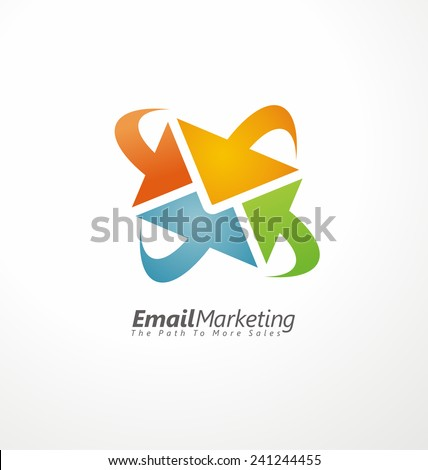 Email marketing creative design concept. Envelope made from arrows symbols template. Internet marketing and search engine optimization service theme. Abstract icon. - stock vector