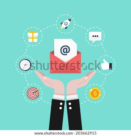 Email marketing. Flat design vector illustration concept. - stock vector